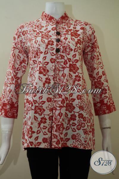 Blus Batik Modern Motif Bunga-Bunga Warna Merah, Pakaian Batik Seragam kantor Trend Mode Masa Kini [BLS2242C-S]