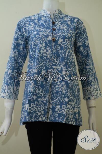 Butik Batik Online Warna Biru Motif Modern, Pakaian Batik Masa Kini Desain Mewah, Batik Bagus Mewah Harga Murah Meriah, Size M