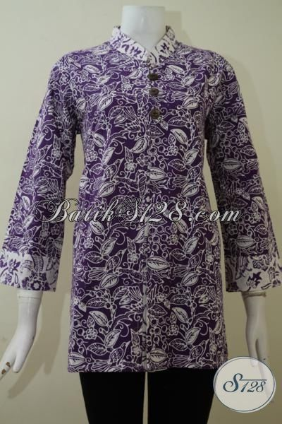 Busana Batik Blus Ungu Model 2015, Baju Batik Wanita Karir Terkini, Pakaian Batik Perempuan Tampil Lebih OK, Size XL