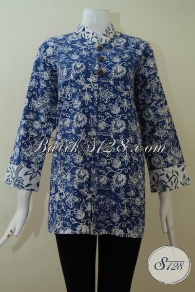 Baju Batik Atasan Warna Biru Lengan Panjang 7/8 Tampil Stylish Untuk Wanita Berbadan Besar Gemuk [BLS2258C-XXL]