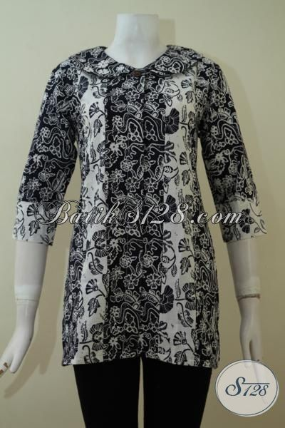 Baju Ukuran Kecil S, Atasan Batik Kerja Warna Hitam Putih, Simple Elegan [BLS2260C-S]