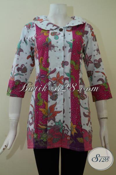 Batik Blus Motif Modern Bahan Halus, Baju Batik Trendy Proses Printing, Batik Kerja Wanita Muda Tampil Beda, Size M – L