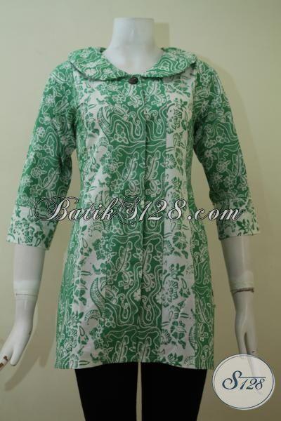 Model Batik Wanita 2015 Kombinasi Warna Hijau Dan Putih, Elegan Dan Cantik [BLS2266C-M]