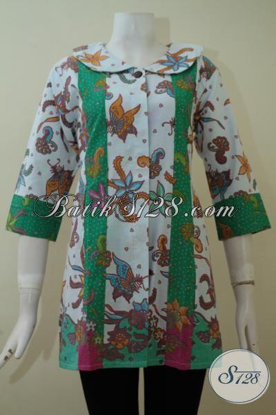 Jual Online Blus Batik Modern Desain Mewah Harga Murah, Baju Kerja Batik Lengan Tiga Perempat Tampil Modis Dan Rapi, Size L