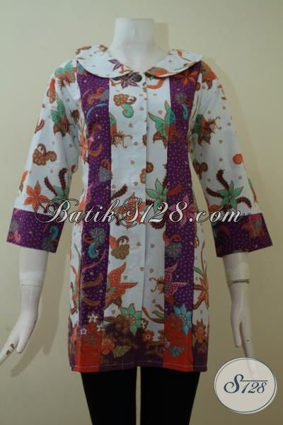 Model Batik Atasan Perempuan Putih Ungu Cantik [BLS2272P-S]
