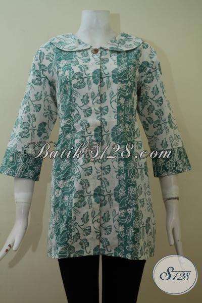 Busana Batik Wanita Terbaru Terkini Kerah Bundar Cantik Elegan Keren [BLS2273C-XL]