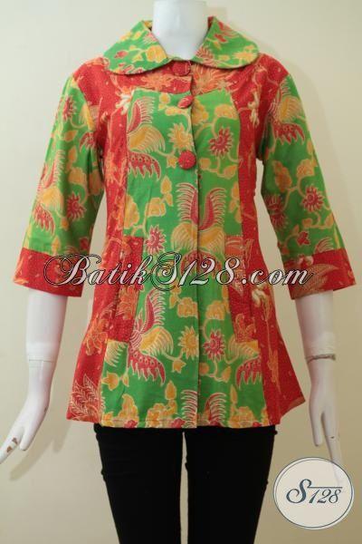 atasan batik kombinasi warna hijau dan oranye cantik