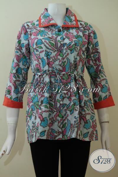 Butik Batik Online, Jual Batik Modern Motif Paling Keren, Blus Batik Print Kesukaan Perempuan Yang Suka Tampil Gaya, Size S