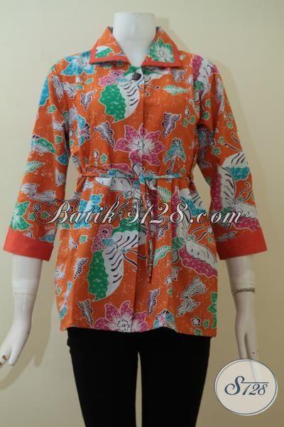 Batik Blus  Printing Murmer, Batik Kerja Wanita Muda, Pakaian Batik Desain Mewah Warna Orange Motif Terkini, Size S – M