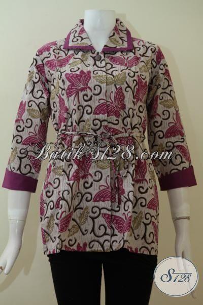 Baju Batik Kupu Ungu Keren Untuk Wanita Berkelas, Pegawai Bank, Pramugari, Mahasiswi [BLS2310P-M]