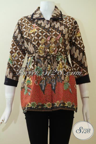 Blus Batik Klasik Kombinasi Modern, Batik Dua Warna Khas Solo, Baju Kerja Batik Wanita Muda Dan Dewasa, Size S – M – XL