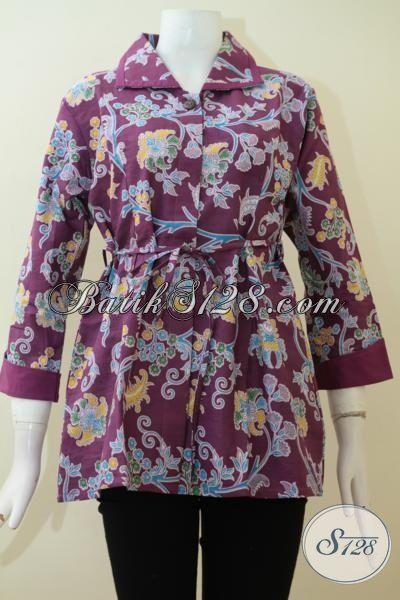 Pakaian Batik Perempuan Karir Warna Ungu, Baju Batik Printing Motif Terbaru Buatan Solo, Busana Batik Murmer Tampil Berkelas, Size S – L