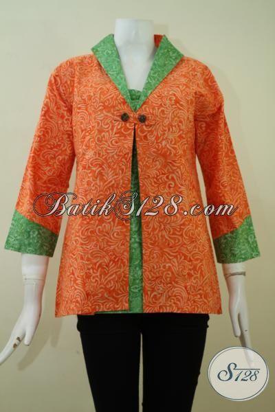 Sedia Batik Kerja Terbaru Exclusive Wanita Karir Sukses, Busana Batik Trendy Kombinasi Warna Orange Dan Hijau Motif Unik Yang Membuat Penampilan Lebih Bergaya [BLS2339CS-M]