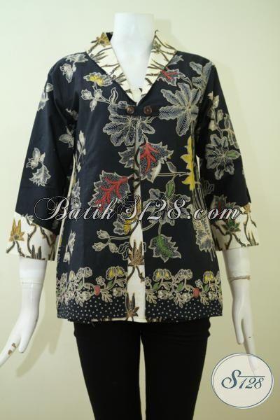 Blus Batik Hitam Kombinasi Cream Proses Kombinasi Tulis, Pakaian Batik Desain Modern Motif Keren Yang Pas Buat Kerja [BLS2344BT-S]