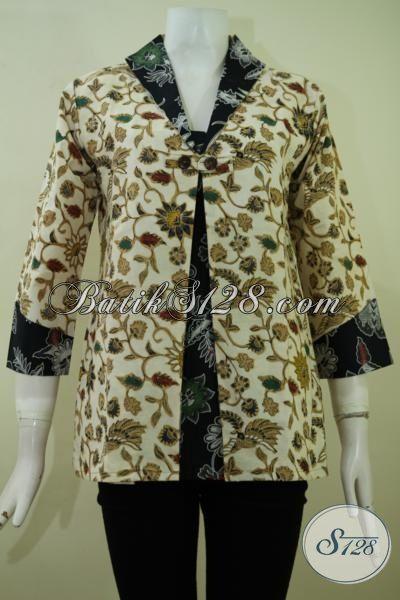 Baju Batik Cream Kombinasi Hitam Motif Unik Dan Berkelas, Pakaian Batik Blus 2015 Bisa Untuk Kerja Dan Jalan-Jalan, Size S