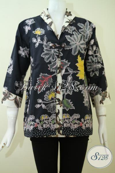 Blus Batik Ukuran M Baju Batik Modern Dasar Hitam Kombinasi Tulis