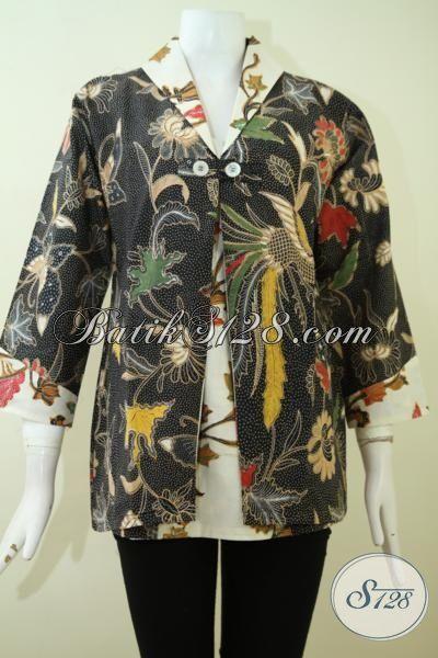 Baju Blus Batik Solo Motif Klasik DEsain Modern, Busana Batik Kombinasi Tulis Kwalitas Halus  Haga Terjangkau Model Mewah, Size L