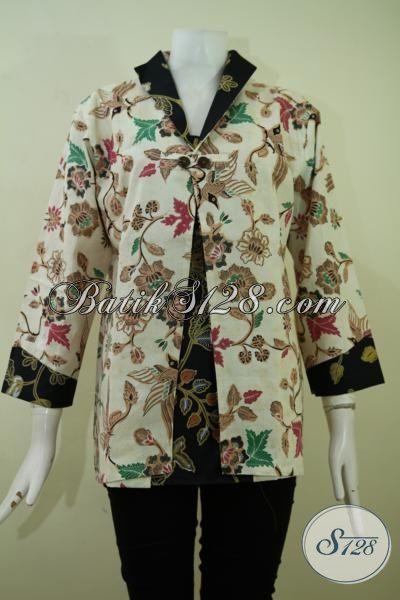 Toko Busana Batik Online Jual Blus Batik Kombinasi Tulis Terbaru Dengan Desain Mewah Kain Halus Untuk Tampil Bekelas, Size XL