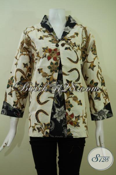 Busana Batik Klasik Dengan Desain Modern Nan Mewah, Baju Batik Trendy Halus  Proses Kombunasi Tulis Tampil Modis Dan Elegan, Size XL