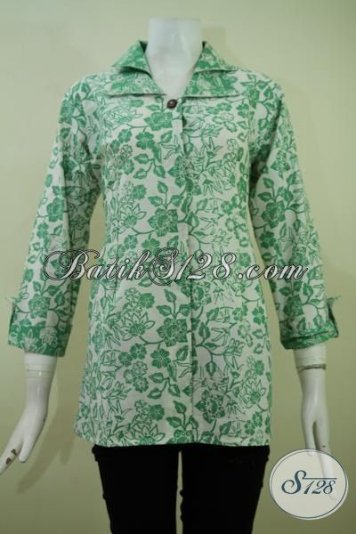 Baju Batik Hijau Dasar Putih, Blus Batik Lengan Tiga Perempat Model Terbaru Yang Simple Dan Keren, Batik Cap Halus Harga Murah, Size S