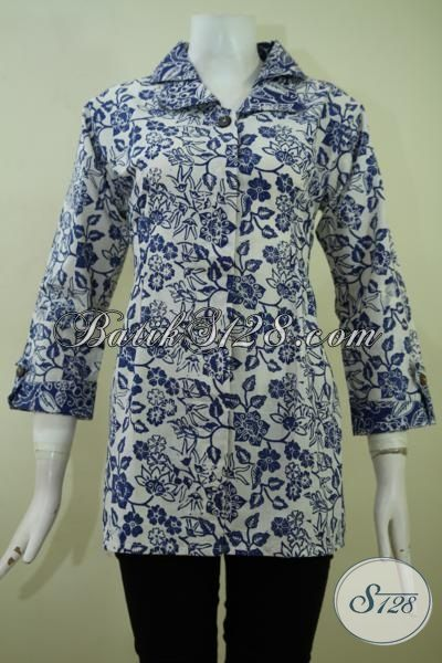 Baju Batik Santai Cewek, Busana Batik Cap Produk Solo, Batik Jawa Motif Bagus Kwalitas Halus Harga Murah, Size M
