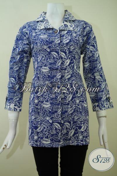 Pakaian Batik Solo Desain Terkini Berpadu Motif Keren Cocok Untuk Kerja Dan Pesta, Blus Batik Cap Asli Produk Solo, Size M