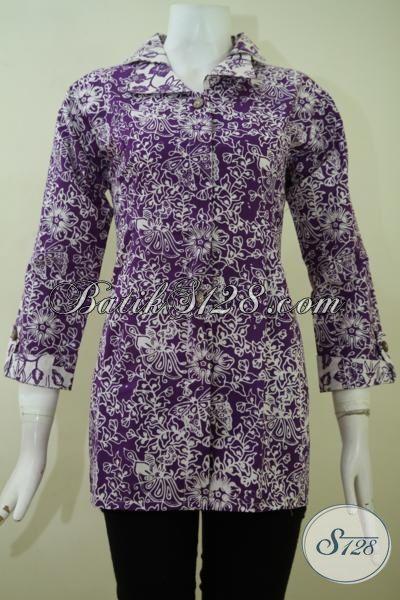 Pusat Belanja Kebutuhan Batik Terlengkap, Sedia Pakaian Blus Batik Modern Proses Cap Kwalitas Bagus Harga Terjangkau [BLS2367C-M]