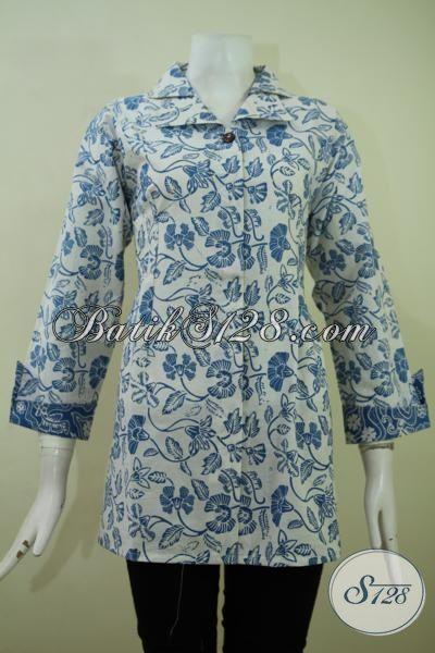 Aneka Pakaian Batik Jawa Motif Modern Buatan Solo, Blus Batik Untuk Kerja Wanita Karir Aktif Kreatif [BLS2368C-L]