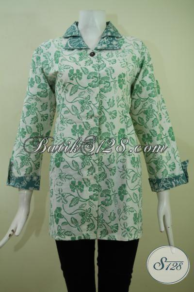 Pusat Baju Batik Online Di Solo, Jual Blus Batik Halus Proses Cap, Pakaian Batik Desain Formal Motif Bagus Pas Buat Ke Kantor, Size XL