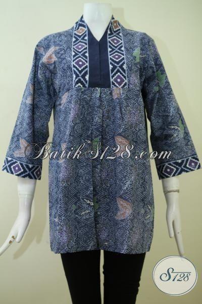 Blus Batik Wanita Masa Kini Warna Biru, Pakaian Batik Kerja Trendy Motif Keren Trend Masa Kini [BLS2383CT-M]