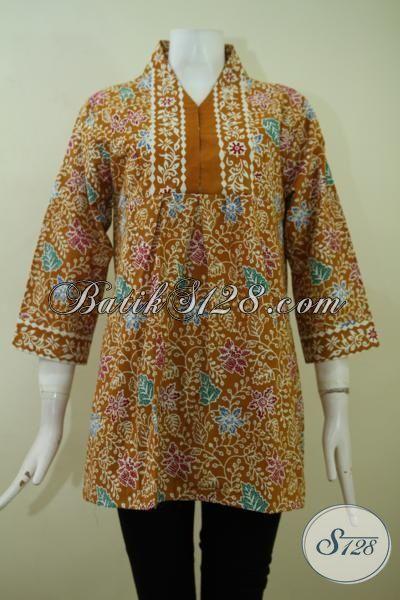 Jual Pakaian Batik Kerja Cewek Karyawati, Blus Batik Cantik Desain Menarik serta Berkelas [BLS2384CT-M]