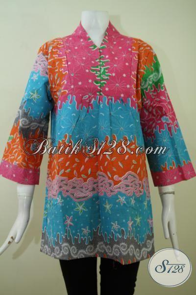 Sedia Busana Batik Pesta Untuk Wanita Trend Terkini, Blus Batik Modern Dengan Desain Menarik Serta Kombinasi Warna Yang Berkelas [BLS2385P-S]