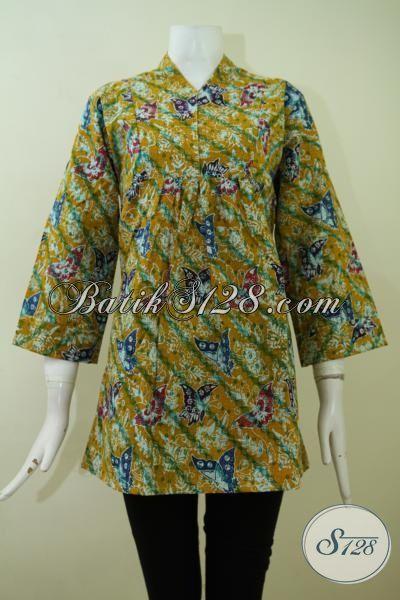 Pakaian Batik Wanita Motif Terkbaru, Busnaa Batik Blus Kerja Proses Cap Model Terkini Yang Lebih Mewah [BLS2387C-L]