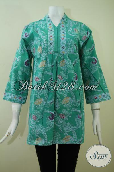 Jual Pakaian Batik Blus Hijau Motif Modern, Baju Batik Seragam Kerja Wanita Muda Tampil Lebih Cantik Dan Trendy [BLS2389C-L]
