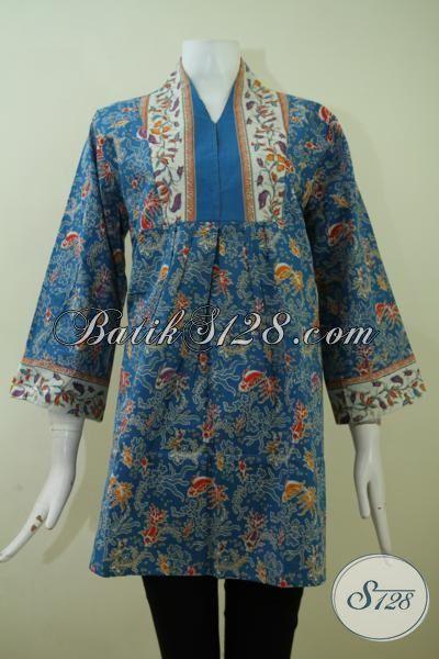 Sedia Pakaian Batik Wanita Model Keren Motif Bagus Harga Murmer, Blus Batik Print Berbahan Halus Dan Adem Buatan Solo [BLS2391P-XL]
