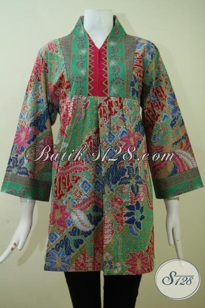 Pusat Batik Solo Online Sedia Busana Batik Wanita Model Terbaru Dengan Motif Dan Warna Keren Yang Pas Buat Kerja [BLS2392P-XL]