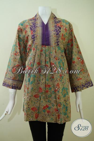 Baju Batik Kerja Ukuran Besar Untuk Wanita Karir Aktif, Blus Batik Etnik Motif Klasik Cewek Tampil Lebih Berkelas [BLS2393P-XL]