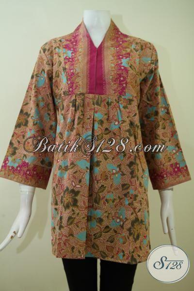 Batik Modern Motif Klasik Untuk Acara Formal, Blus Batik Seragam Kerja Harga Murmer Kain Halus Dan Adem [BLS2394P-XL]