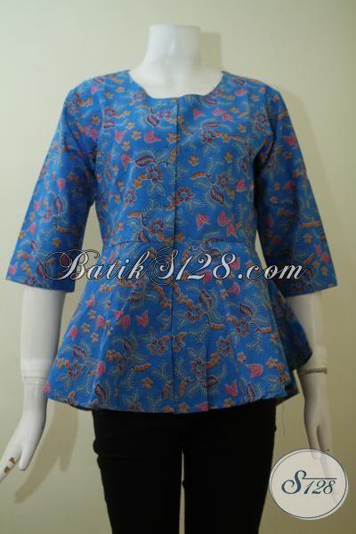 Baju Batik Atasan Model Blus Warna Biru Pakaian Batik Modern Desain