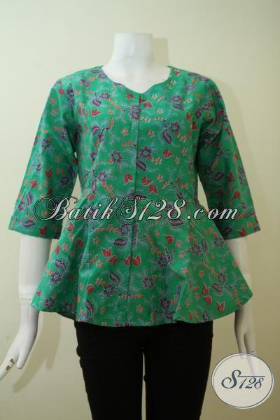 Baju Batik Print Warna Hijau Motif Keren Baju Blus Seragam Kantor