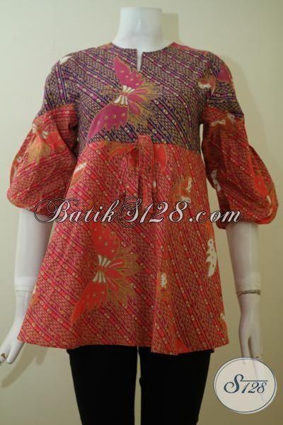 Blus Batik Motif Kupu-Kupu Proses Printing, Baju Batik Modern Untuk Wanita Muda Dan Remaja Putri, Size S