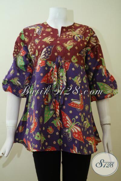Baju Batik Perempuan Karir Dengan Desain Keren Trend Masa Kini, Blus Batik Kombinasi Warna Merah Marun Dengan Ungu Untuk Tampil Elegan Setiap Hari [BLS2407P-S]