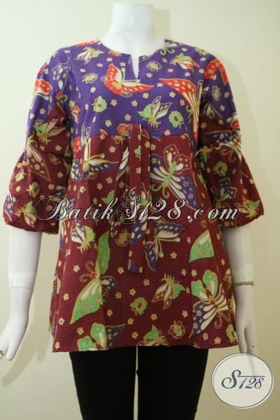 Trend Busana Batik Wanita Muda Dan Dewasa Paling Baru, Baju Batik DesainTrendy Dengan Motif Kupu Proses Print Harga Murmer [BLS2408P-S]