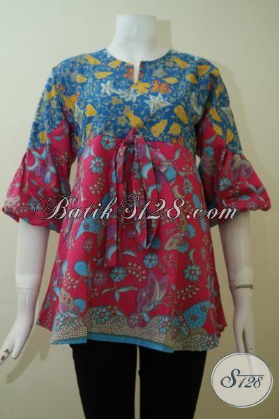 Toko Busana Batik Wanita Paling Lengkap, Jual Blus Batik Model Terbaru dengan Kombinasi Warna Merah Jambu Dan Biru Kwalitas Halus Harga Sangat Terjangkau [BLS2409P-S]