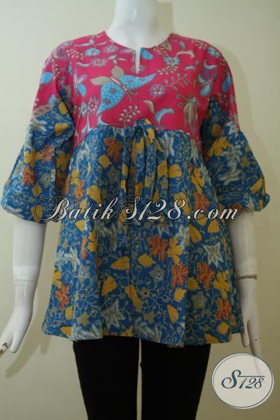 Sedia Pakaian Blus Batik Trend Mode Masa Kini, Busana Batik Wanita Tampil Berkelas, Bisa Untuk Kerja Dan Santai [BLS2410P-S]