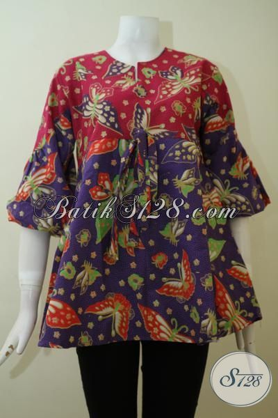 Blus Batik Murah Dengan Desain Keren Serta Bahan Kain Yang Halus, Baju Batik Adem Proses Print  Asli Buatan Solo Indonesia [BLS2412P-M]