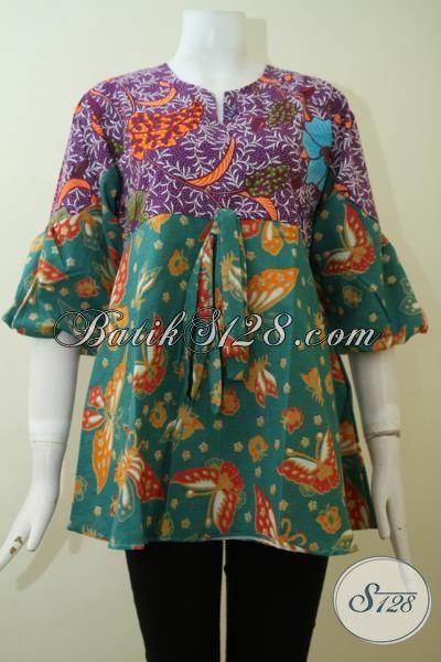 Baju Batik Blus dua Motif, Batik Kerja Dua Warna, Batik Modern Desain Mewah Wanita Lebih Anggun Dan Berkelas, Size M