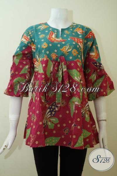 Busana Batik Modern Untuk Wanita Muda, Baju Batik Printing Halus Desain Mewah Terkini Sangat Pas Untuk Pesta, Size M