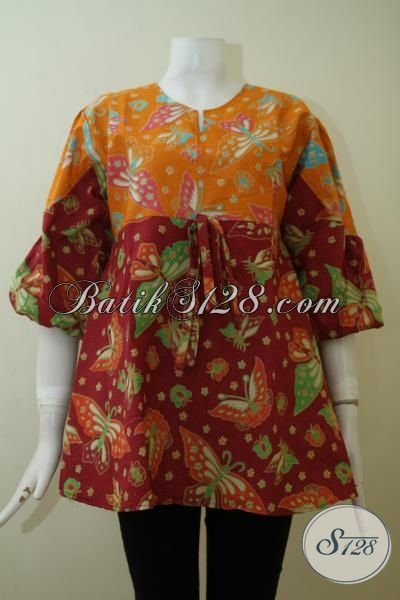 Online Shop Busana Batik Paling Up To Date Dan Terlengkap, Jual Blus Batik Print Kombinasi Warna Orange Dan Merah Marun Pas Buat Ke Kantor [BLS2417P-L]