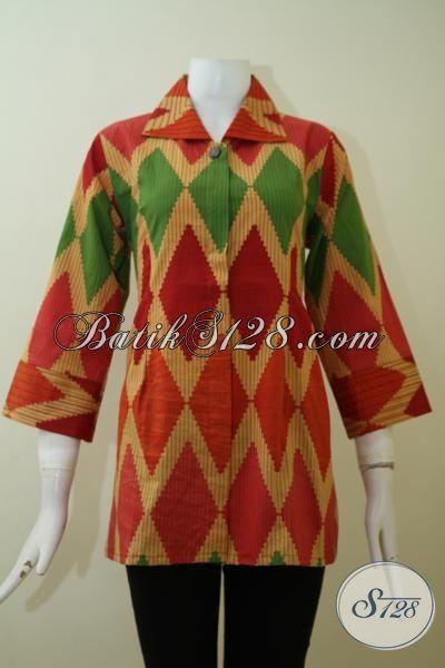Grosir Busana Batik Print Motif Rangrang Trend Pakaian Wanita Muda Masa Kini, Blus Batik Kerja Tampil Lebih Modis Setiap Hari [BLS2429P-L]